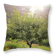 Apple Tree In The Garden Throw Pillow