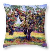 Apple Tree Orchard Throw Pillow