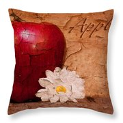 Apple With Daisy Throw Pillow
