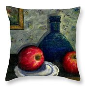 Apples And Bottles Throw Pillow