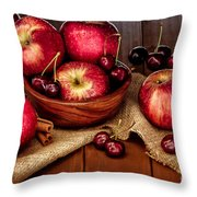 Apples And Cherries Throw Pillow