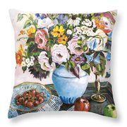Apples And Grapes Throw Pillow