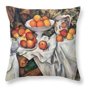 Apples And Oranges Throw Pillow by Paul Cezanne