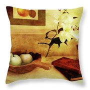 Apples And Pears In A Hallway Throw Pillow