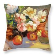 Apples And Peonies Throw Pillow