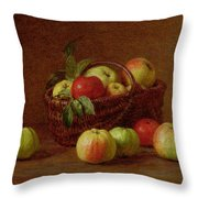 Apples In A Basket And On A Table Throw Pillow by Ignace Henri Jean Fantin-Latour