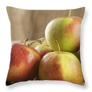 Apples In Basket Throw Pillow