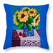 Apples  Sunflowers Throw Pillow