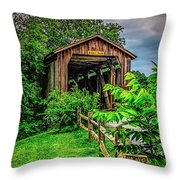 Approach To Hunseckers Mill Bridge Throw Pillow