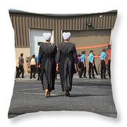 Approaching A Youth Gathering Throw Pillow