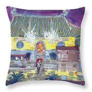 Approaching Dongwu Temple On Chinese New Years Eve Throw Pillow