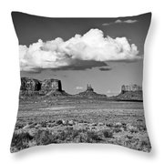 Approaching Monument Valley Black And White Throw Pillow