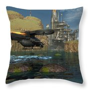 Approaching The Landing Pad Throw Pillow