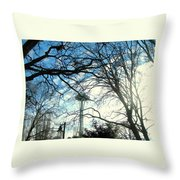 Approaching The Space Needle  Throw Pillow