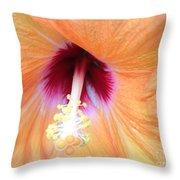Apricot Hibiscus Flower Throw Pillow