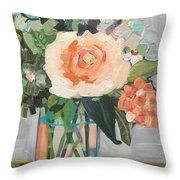 Apricot Rose Throw Pillow