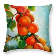 Apricots In The Garden Throw Pillow