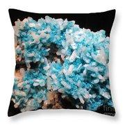 Aqua And White Gemstone Throw Pillow