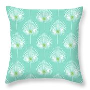 Aqua And White Palm Leaves- Art By Linda Woods Throw Pillow