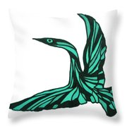 Aqua Bird Throw Pillow