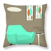 Aqua Chair Throw Pillow