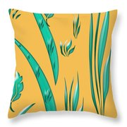 Aqua Design On Gold Throw Pillow