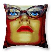 Aqua Eyed Angie Throw Pillow