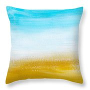 Aqua Gold Abstract Painting Throw Pillow