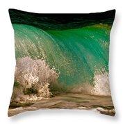 Aqua Green Wave Throw Pillow