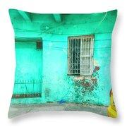 Aqua House Throw Pillow