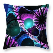 Aqua Lilac Blooms Throw Pillow