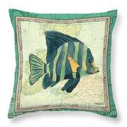 Aqua Maritime Fish Throw Pillow