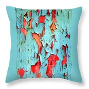 Aqua Over Orange Throw Pillow