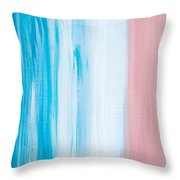 Aqua Pink Abstract Painting Throw Pillow