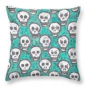 Aqua Skull Pattern Throw Pillow