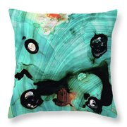 Aqua Teal Art - Volley - Sharon Cummings Throw Pillow