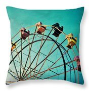 Aquamarine Dream - Ferris Wheel Art Throw Pillow