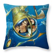 Aquaria Rising From Mask Of The Ancient Mariner Throw Pillow