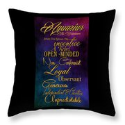 Aquarius Throw Pillow by Mamie Thornbrue