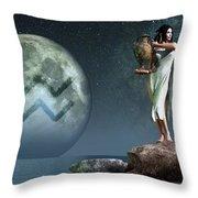 Aquarius Zodiac Symbol Throw Pillow by Daniel Eskridge