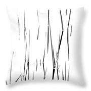 Aquatic Reeds Black And White Throw Pillow