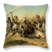 Arab Horsemen On The Attack Throw Pillow by Adolf Schreyer