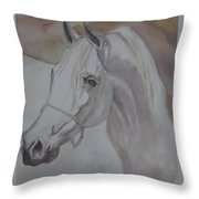 Arab Stallion In The Desert Throw Pillow