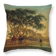 Arab Oasis Throw Pillow by Narcisse Berchere