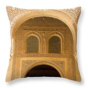 Arabesque Ornamental Designs At The Casa Real In The Nasrid Palaces At The Alhambra Throw Pillow