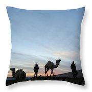 Arabian Camel At Sunset Throw Pillow