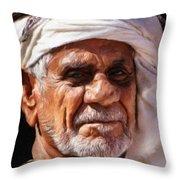Arabian Old Man Throw Pillow