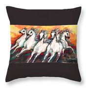 Arabian Sunset Horses Throw Pillow