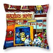Arachides Depot Candy Shop Painting Rue De L'eglise Verdun Montreal Hockey Art Carole Spandau        Throw Pillow