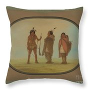 Arapaho Chief, His Wife, And A Warrior Throw Pillow